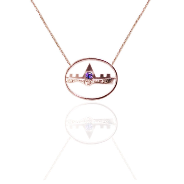 Yellow Gold Vermeil Horizontal Necklace with Amethyst