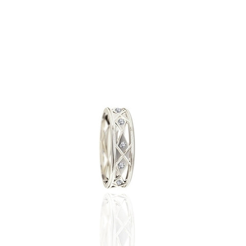 Ladies Flush Set White Gold Wedding Band