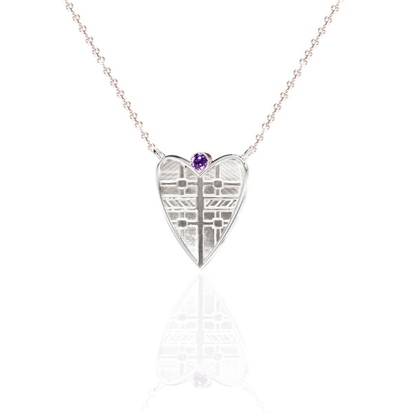 Fluid Tartan Sterling Silver Solid Heart Necklace with Amethyst