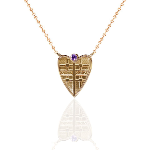 Fluid Tartan Yellow Gold Vermeil Solid Heart Necklace with Amethyst