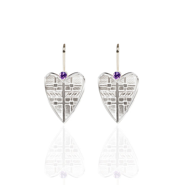 Fluid Tartan Sterling Silver Solid Heart Drop Earrings with Amethyst