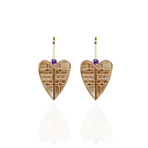 Fluid Tartan Yellow Gold Vermeil Solid Heart Drop Earrings with Amethyst