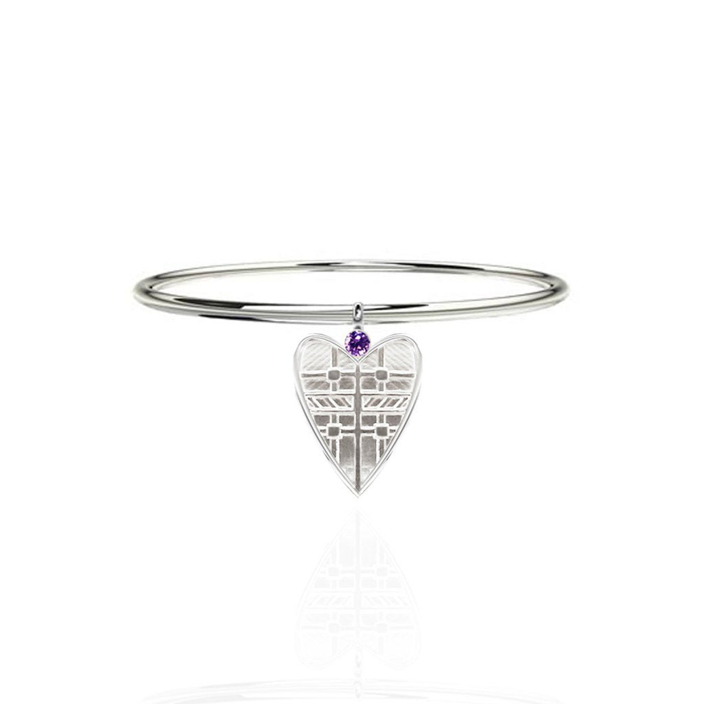 Fluid Tartan Sterling Silver Solid Heart Bangle with Amethyst