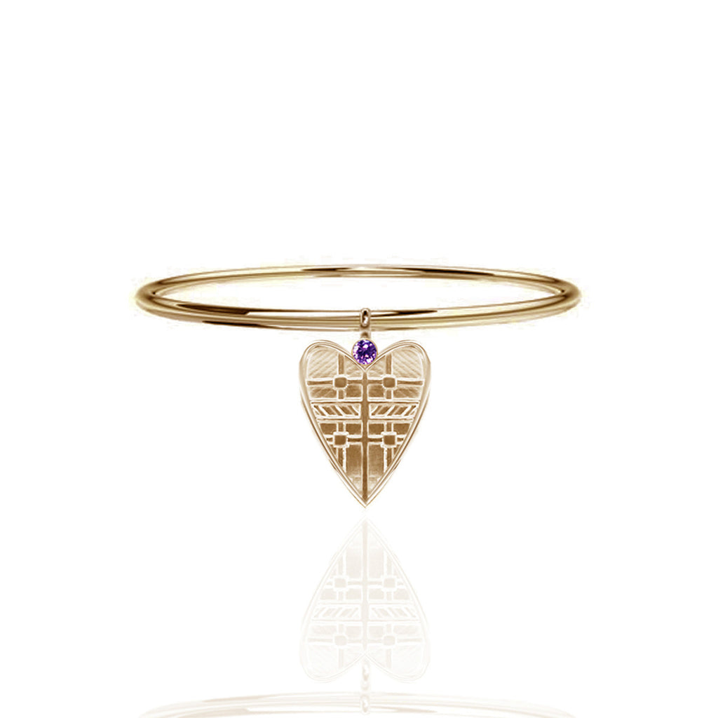 Fluid Tartan Yellow Gold Vermeil Solid Heart Bangle with Amethyst