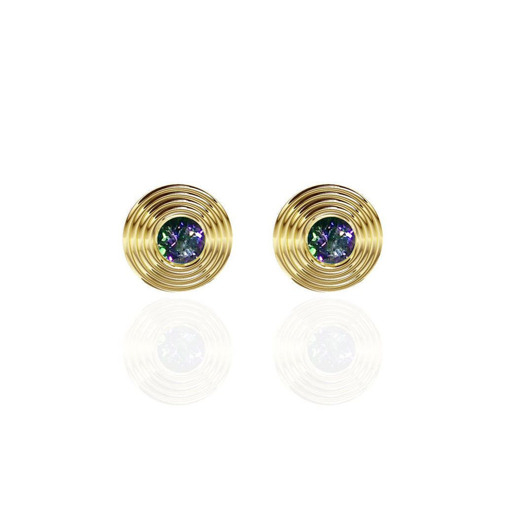 Yellow Gold Vermeil Round Mystical Topaz Earrings