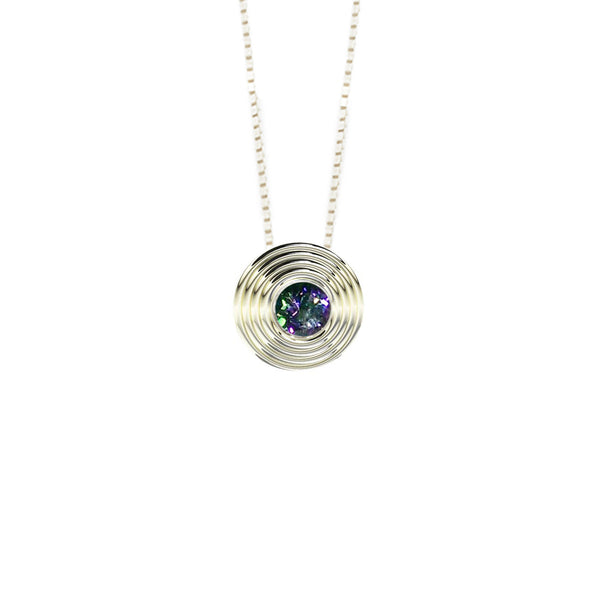 Sterling Silver Round Mystical Topaz Pendant
