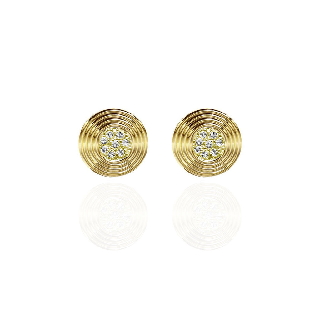 LUX Yellow Gold Vermeil Round Pave Set Sapphire Earrings