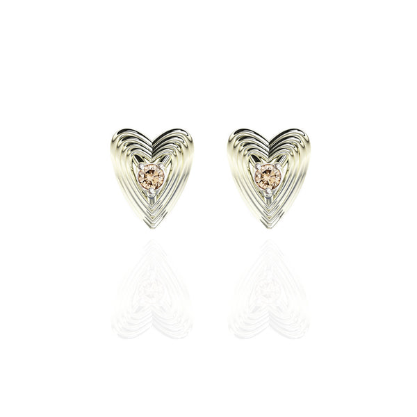Sterling Silver Champagne Diamond Heart Earrings
