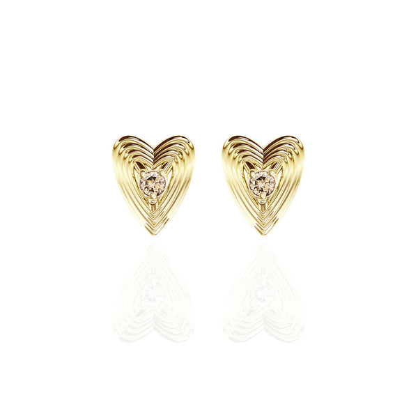 Yellow Gold Vermeil Champagne Diamond Heart Earrings