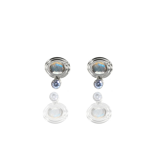 Sterling Silver Cabochon and Diamond Stud Earrings