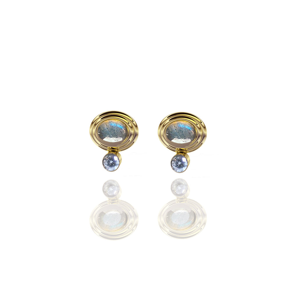 Yellow Gold Vermeil Cabochon and Diamond Stud Earrings