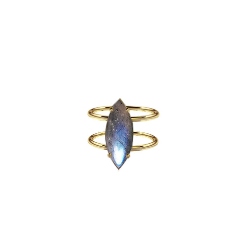 Yellow Gold Vermeil Labradorite Marquise Ring with Double Band