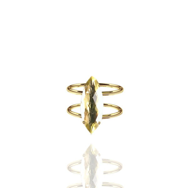 Yellow Gold Vermeil Marquise Citrine Ring with Double Band