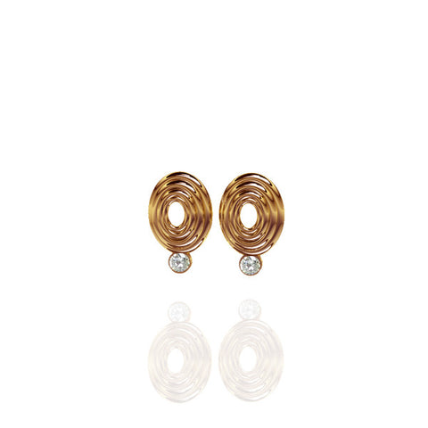 Yellow Gold Vermeil Oval Sapphire Earrings