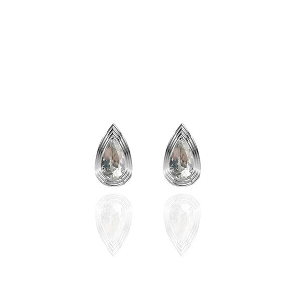 Sterling Silver Pear Stud Earrings