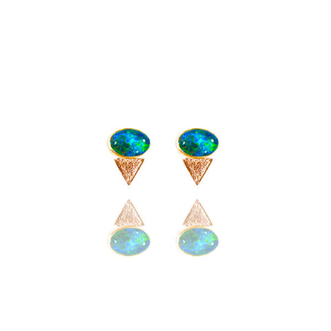 Yellow Gold Vermeil Reticulated Tri-Oval Studs