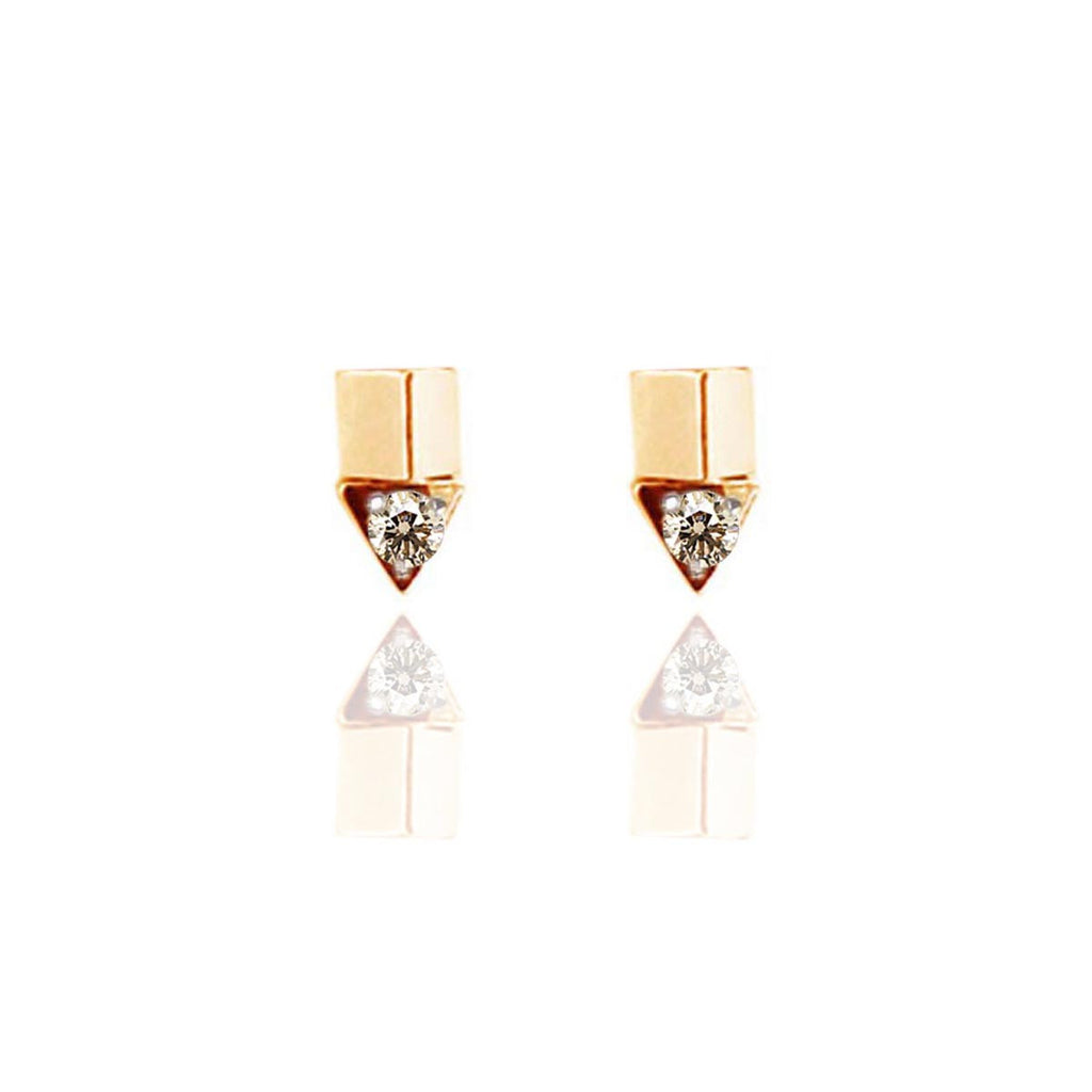 Rock Studded Yellow Gold Vermeil Tri-Sculpt Studs