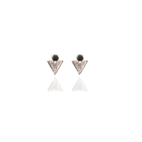 Sterling Silver Reticulated Tri- Studs with Black Diamond