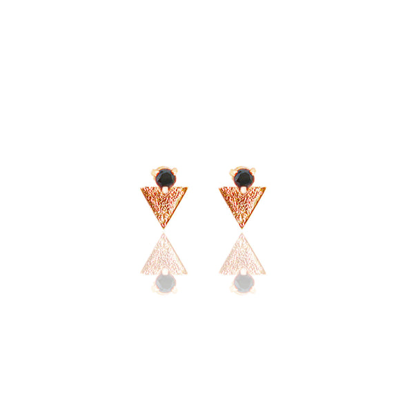 Yellow Gold Vermeil Reticulated Tri- Studs with Black Diamond