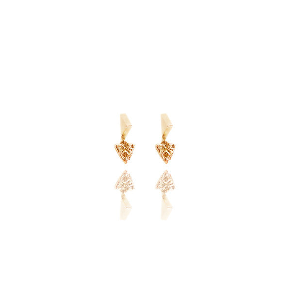 Yellow Gold Vermeil Spike Studs with Reticulated Heart