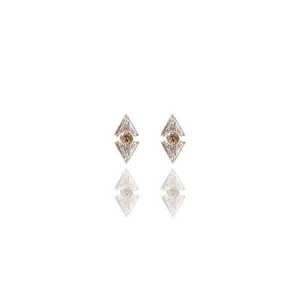 Sterling Silver Champagne Diamond Reticulated Dual Studs