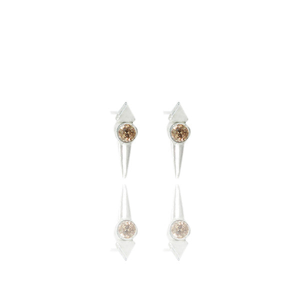 Sterling Silver Micro Spike Studs with Champagne Diamonds