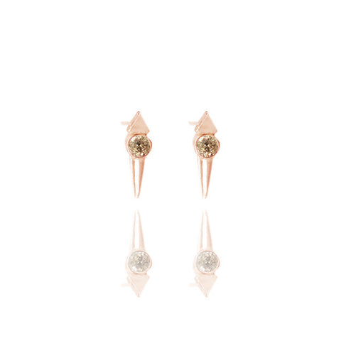 Yellow Gold Vermeil Micro Spike Studs with Champagne Diamonds