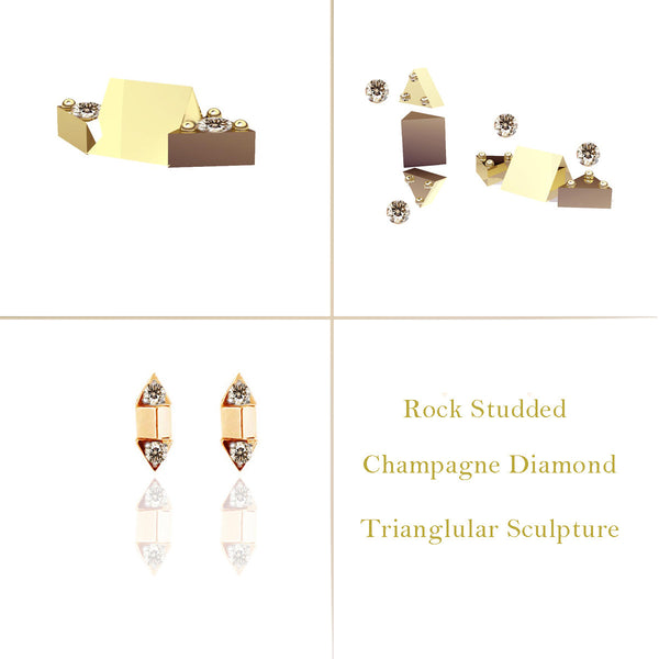Rock Studded Yellow Gold Vermeil Dual Tri-Sculpt Studs
