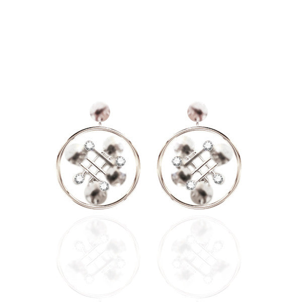 Sterling Silver Drop Earrings with White Topaz