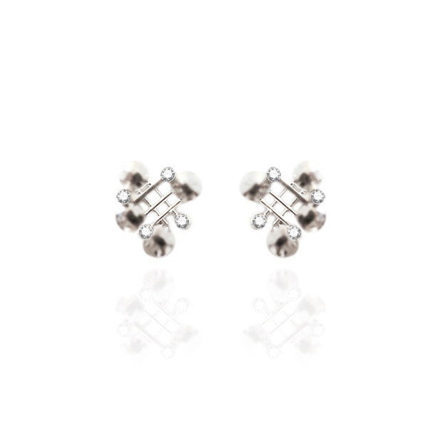 Sterling Silver Stud Earrings with White Topaz