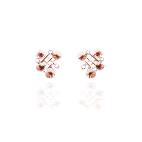 Yellow Gold Vermeil Stud Earrings with White Topaz
