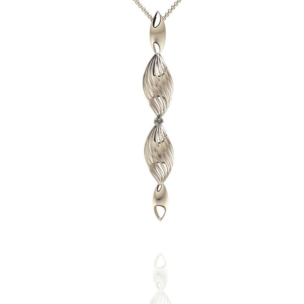 Sterling Silver Diamond Drop Pendant