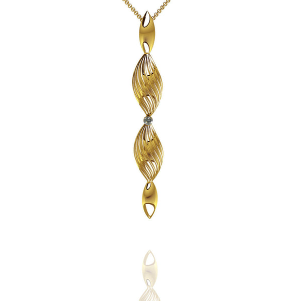 Yellow Gold Vermeil Diamond Drop Pendant