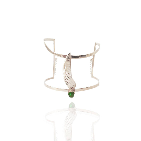 Sterling Silver Cuff with Hard Mass Green Emerald