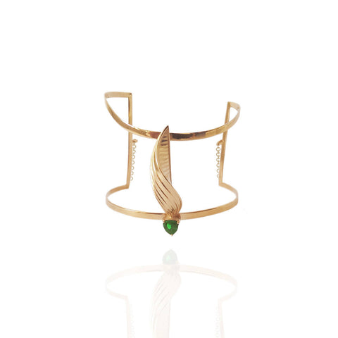Yellow Gold Vermeil Cuff with Hard Mass Green Emerald