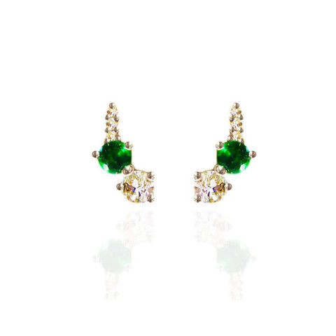 Sterling Silver Hard Mass Emerald and White Sapphire Earrings