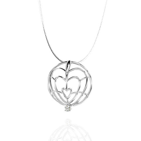 Classic Sterling Silver Pendant with White Sapphire