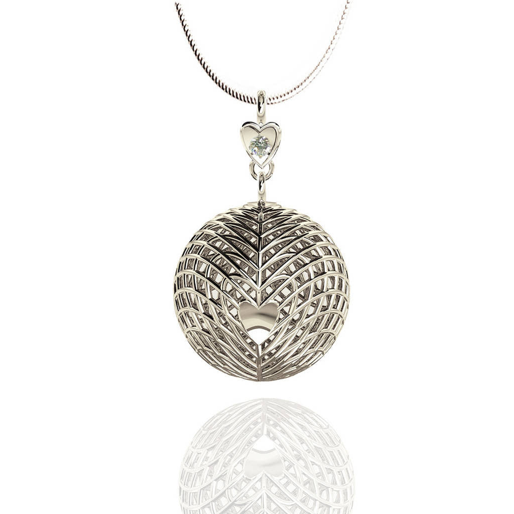 Sterling Silver Heart Diamond Drop Pendant