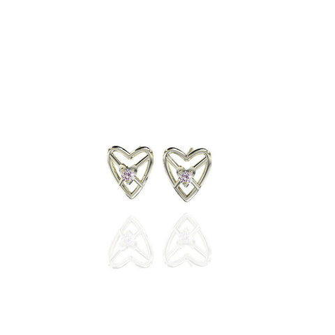 Sterling Silver Sweetheart 3D Stud Earrings with White Sapphire