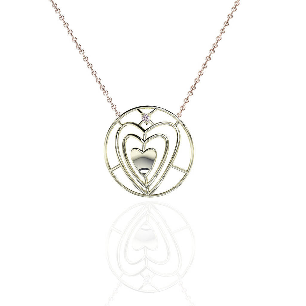 Everlasting Love Sterling Silver Sweetheart Necklace with White Sapphire