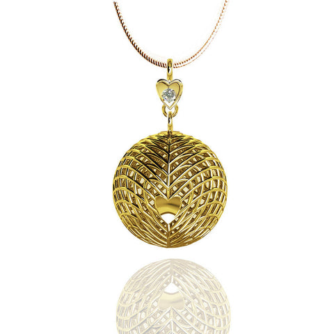 Yellow Gold Vermeil Heart Diamond Drop Pendant