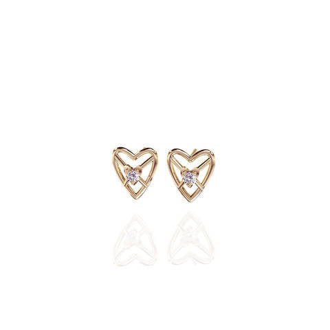 Yellow Gold Vermeil Sweetheart 3D Stud Earrings with White Sapphire