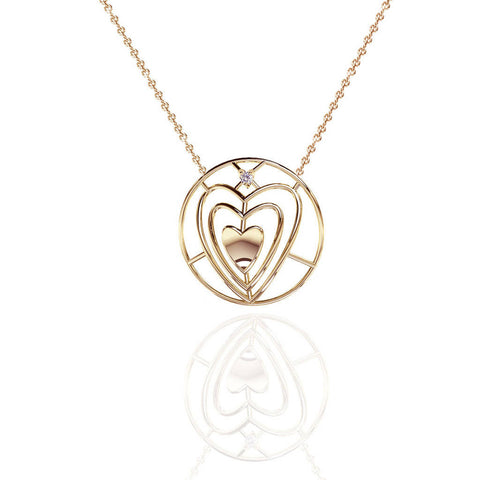 Yellow Gold Vermeil Sweetheart Necklace with White Sapphire