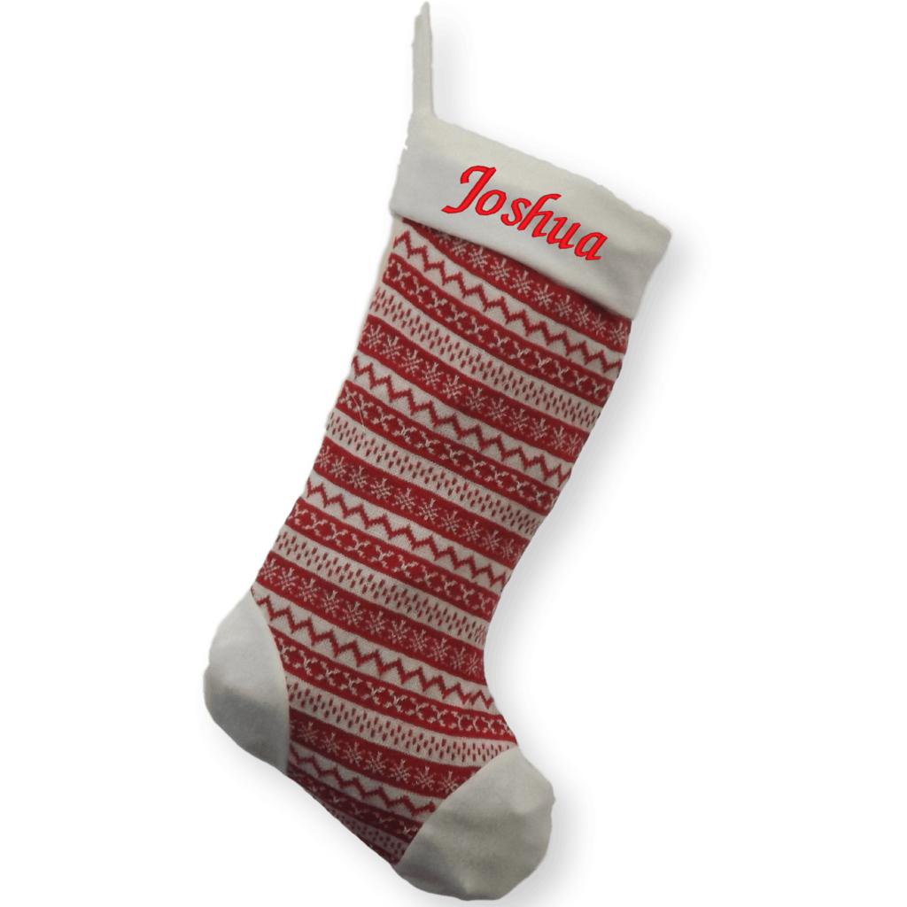 Personalised Deluxe Embroidered Nordic Knitted Xmas Stocking Sack ...