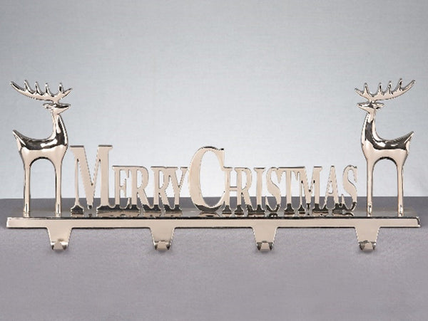 4 Way Weighted Solid Cast Metal Stocking Mantel Holder - Merry Christmas Reindeers
