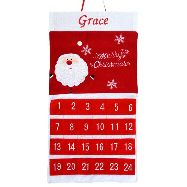 Personalised Advent Calendar Red Felt Santa