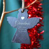 Personalised Memorial Christmas Bauble Angle Slate
