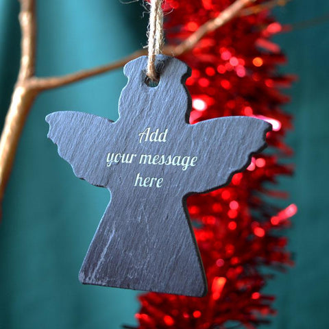 Personalised Engraved Slate Angel Christmas Bauble Message