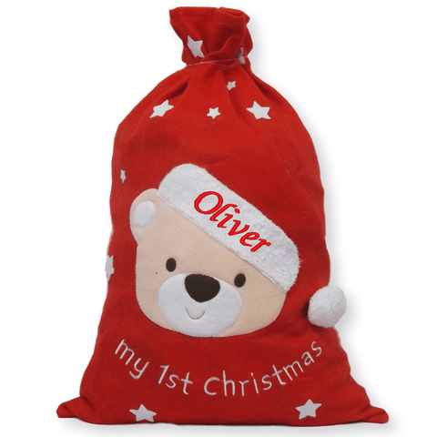 My First Christmas - Personalised Christmas Jumbo Xmas Sack 73CM - Personalised Christmas