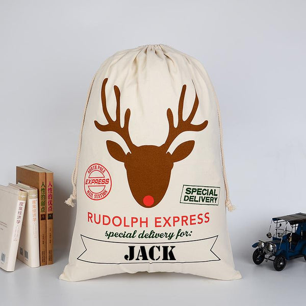 A personalised cotton Christmas sack with Rudolph the red nose reindeer printed on the front along with lettering and a personalised name.